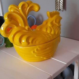None Accents - Yellow hen glazed baking dish/or decor